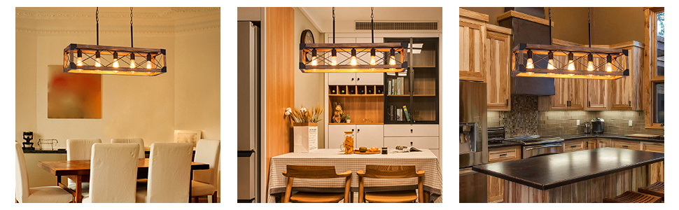 Kitchen Island Lighting, Dining Room Farmhouse Chandelier,Modern Pendant Light, wood grain finish