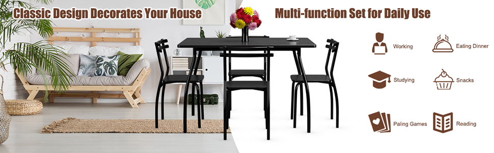 5Pcs Dining Table Set for 4