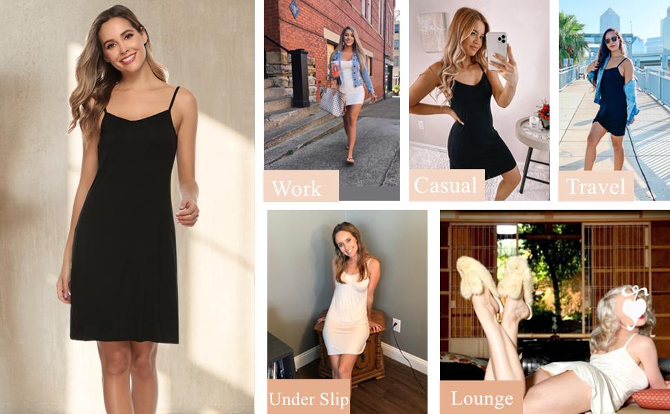 Vlazom Women's Full Slip Sleep Dress Under Mini Dress