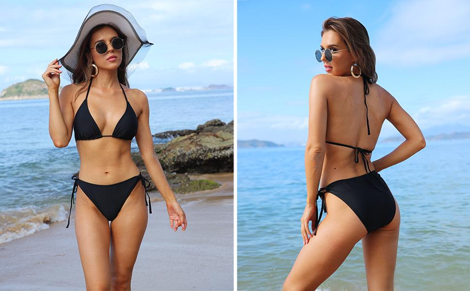 Tie Side Bottom Triangle Bikini Bathing Suit