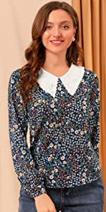 B099W7CYWZ Contrast Doll Collar Blouse