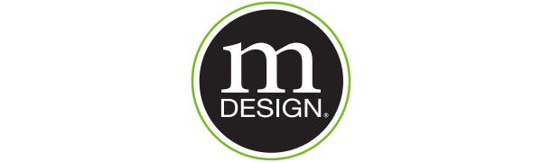 white mDesign logo in a black circle with a green outline on a white background