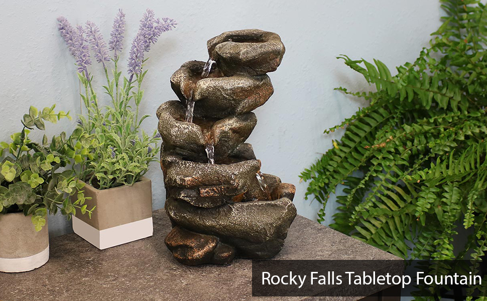 Rocky Falls Indoor Tabletop Water Fountain with LED