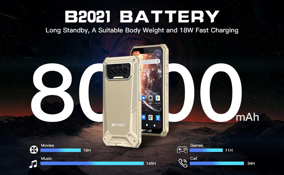 8000mAh big battery, 18W fast charger,Type C