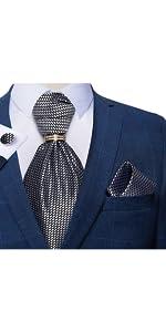 mens ascot handkerchief cufflinks ring set