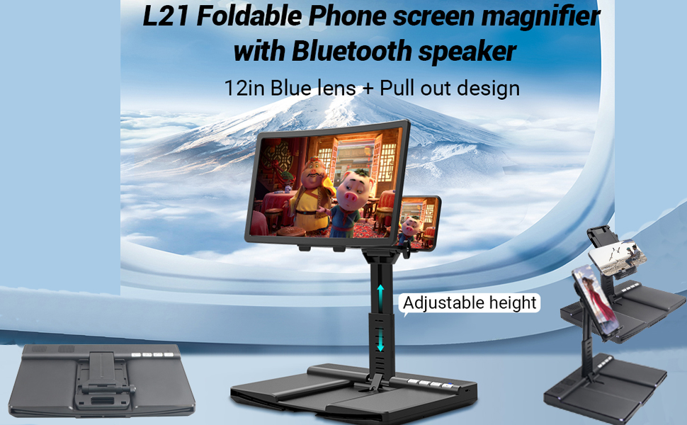 Phone screen magnifier with Bluetooth Speaker, and phone /tablet adjustable stand