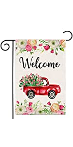 Tulips Truck Floral Welcome Garden Flag