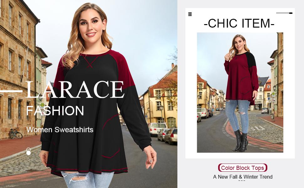 8102 LARACE Women Plus Size Color Block Sweatshirts Swing Tunic Tops