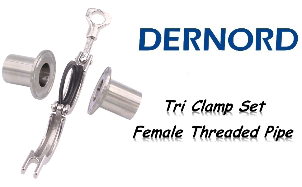 DERNORD Tri Clamp Set Female Threaded Pipe Fittings
