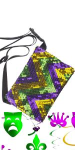 Mardi Gras Sequin Fanny Pack Adjustable Flip Parade Bag /Parade Accessories