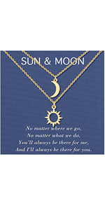 Sun and Moon Necklace Matching Best Friend Friendship BFF Sister Necklace