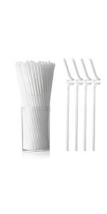 white flexible straw