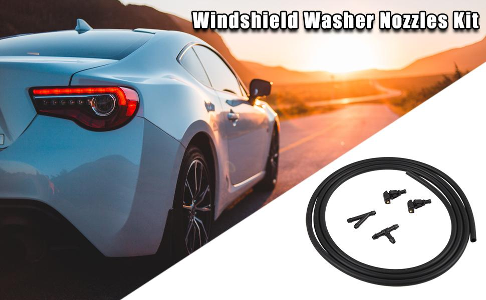 Car Front Windshield Washer Nozzles Kit 3W7Z-17603-AA for Ford F-150 2004-2014