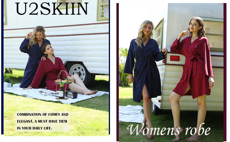 Details about  /U2SKIIN Womens Cotton Robes Lightweight Robes for Women with 3//4 Sleeves Knit B