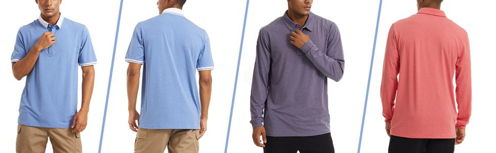 Men's Polo Long and Short Sleeve Golf Polo Quick Dry 3 Buttons Classic