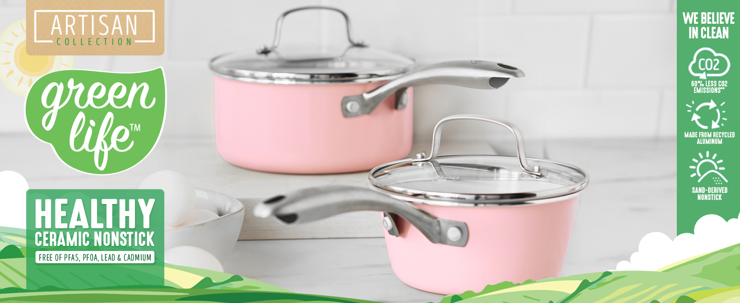 GreenLife, nonstick cookware, pots and pans, diamond, handle, healthy, clean cooking, recycled PFAS