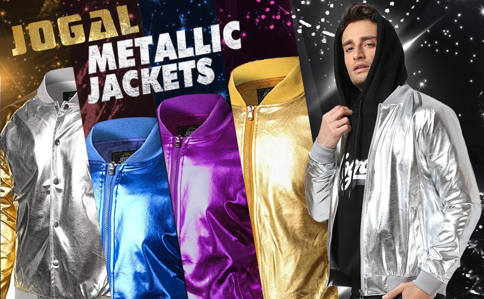 Mens Metallic Nightclub Styles Zip Up Varsity Baseball Bomber Jacket Costume