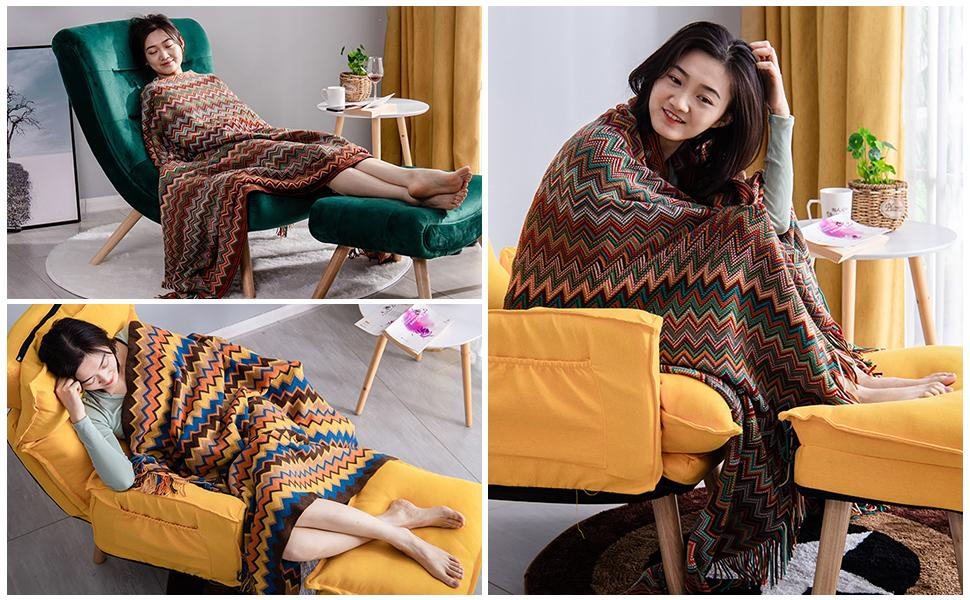 Avitalk Bohemian Knitted Blanket with Fringe Soft Cozy Blanket Throws for Sofa Couch