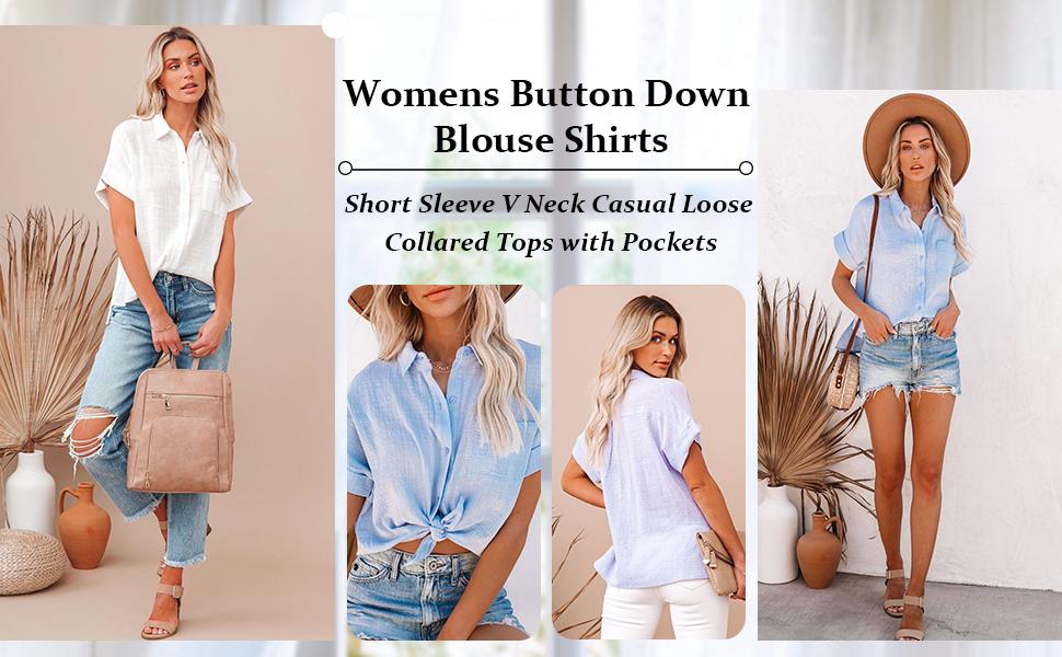 Women's Summer Chiffon Blouse Casual Short Sleeve V Neck Shirt Loose Printed Cuffed Sleeve Tunic Top