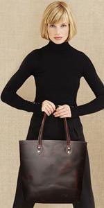 Womens Leather Tote Bag Shoulder Handbag 14 inch laptop tote bag