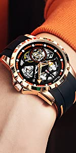 Hollow mechanical men's watch, rubber strap, trendy men's watch