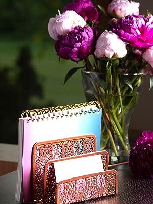 Rose Gold Sunflower Desk Organizer Mail Sorter