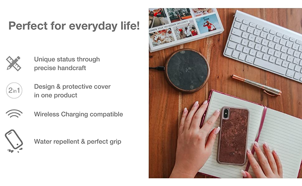 Perfect for everyday life, unique status, handcraft, design, wirless charging, water repellent