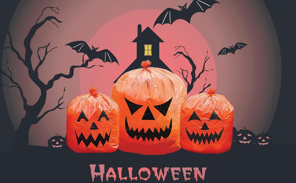 Halloween Pumpkin Plastic Lawn and Leaf Bags Decoration, Outdoor Yard Fall Decorating Trash Bag