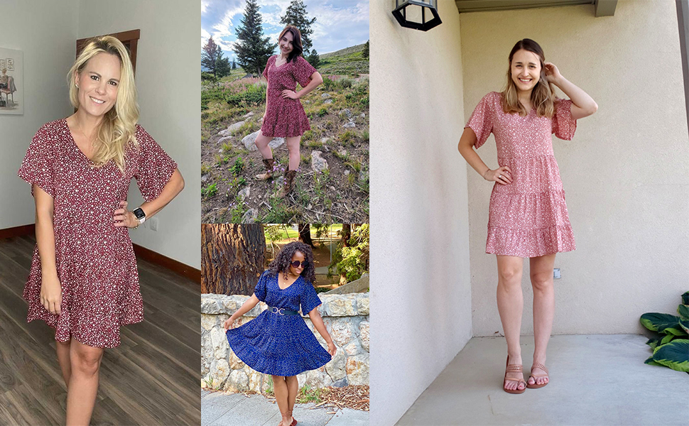 womens summer v neck tunic dress