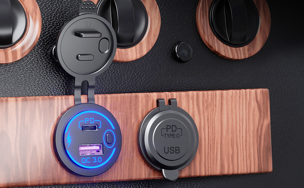 usb c car charger socket with blue led and ON/OFF switch