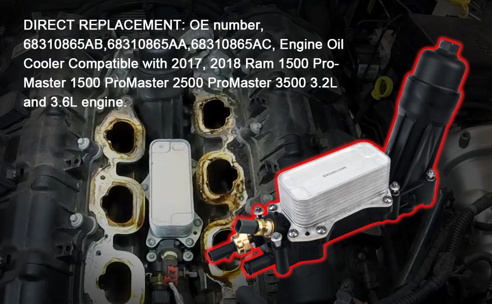 Engine Oil Cooler Filter Housing Adapter Assembly 3.2L 3.6L for 2017 2018 Chrysler Jeep Dodge RAM