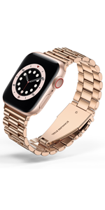 Business stainless steel for apple watch band Rose gold