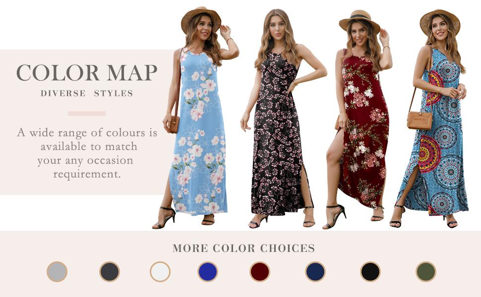 Women's Summer Casual Long Dress Sleeveless Racerback Side Split Maternity Dresses Maxi Dresses