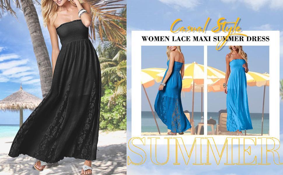 women lace maxi summer dress