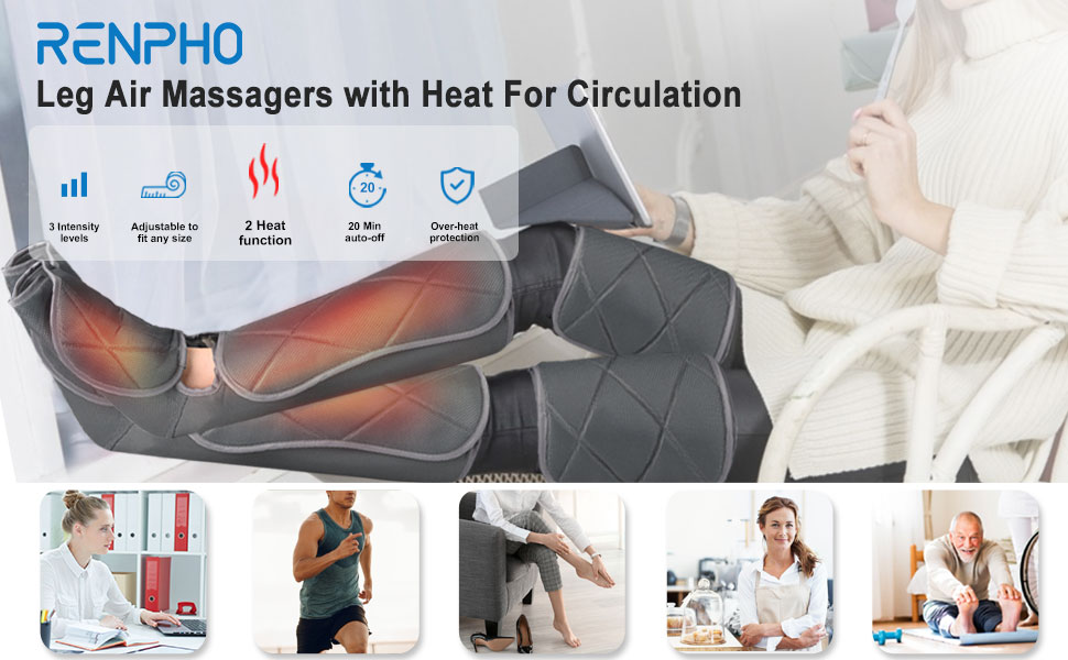 Leg and foot massager with heat for relaxation