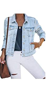 Women's Basic Button Down Stretch Fitted Long Sleeves Denim Jean Jacket1