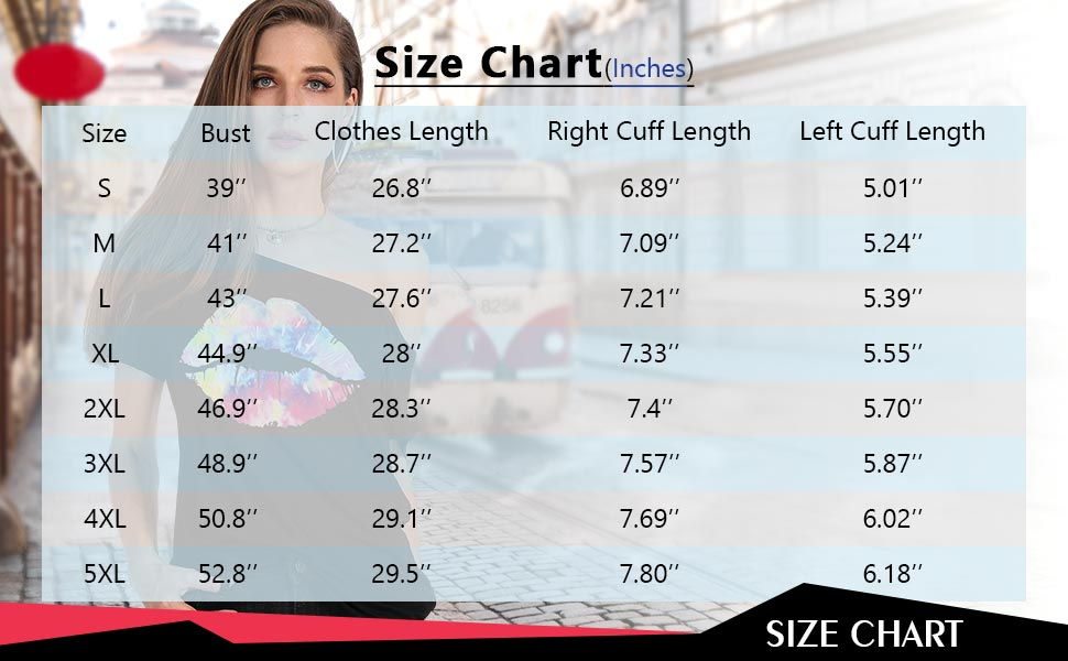 off shoulder short sleeve lips print tops size charting