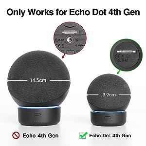Base de bateria Alexa Echo Dot 4ª geração, GGMM D4 Tornar Amazon Dot 4 portátil