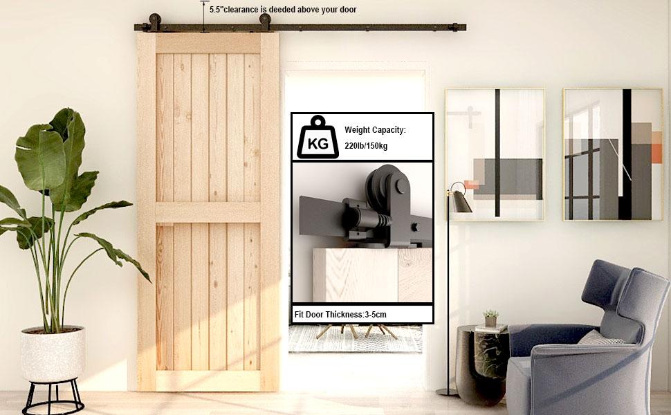 CCJH Single Wood Sliding Barn Door Hardware Basic Black Wheel Roller Kit Garage Closet Carbon Steel