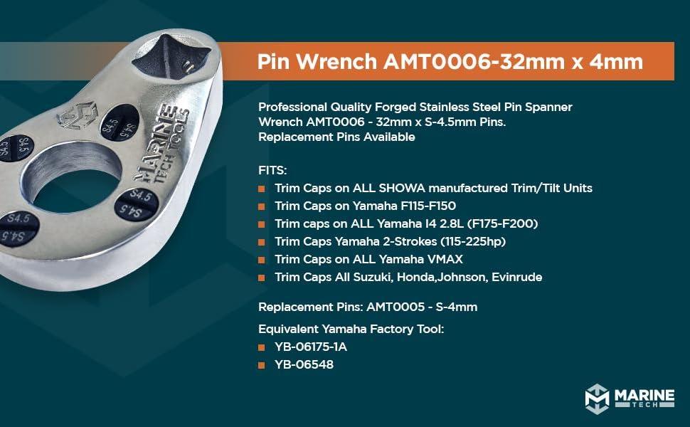 32mm pin wrenches yamaha pin wrenches tilt/trim Suzuki, Honda, Johnson, Evinrude