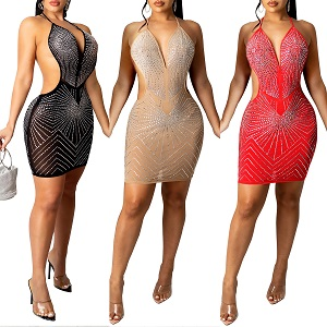 PORRCEY Women Sexy Hot Drilling Process Sexy Dress Party Club Night Dress