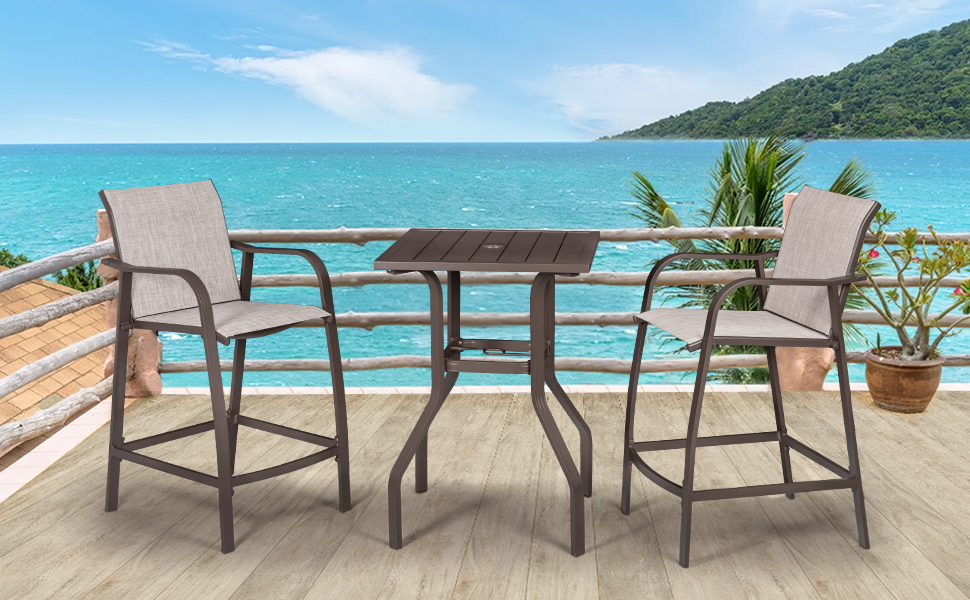 Use a beach stool set to relax in your garden bar.