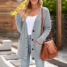 Women's Popcorn Fuzzy Cozy Pockets Knit Cardigan Sweater Coat