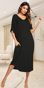 Ekouaer Nightgowns for Women Button-down Sleepwear Short Sleeve Nightshirt