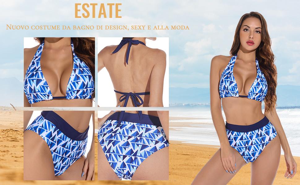 Costumi da Bagno Donna Mare Bikini Reggiseno Imbottito Push Up Costume a Fascia Due Pezzi