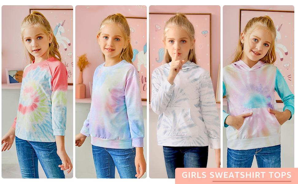 Girls Sweatshirt Tops Kids Long Sleeve Pullover Sweatshirts for 4-13 Years