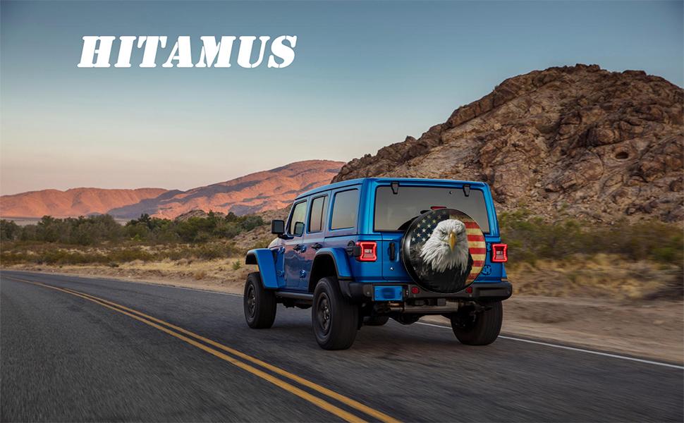 Hitamus Bald Eagle USA Flag Spare Tire Cover for Jeep Wrangler RV SUV Camper Travel Trailer
