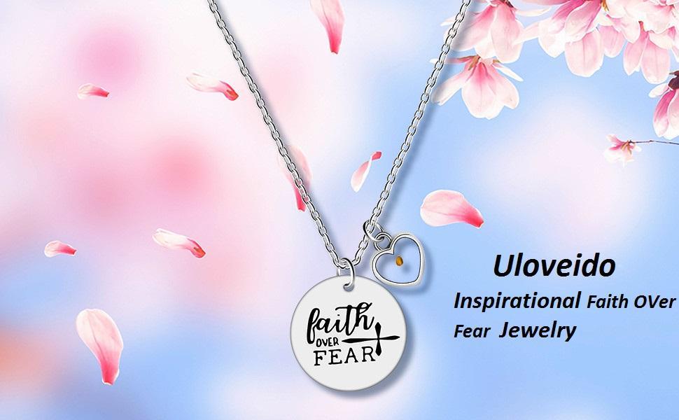 faith over fear necklace, encouragement necklace for women