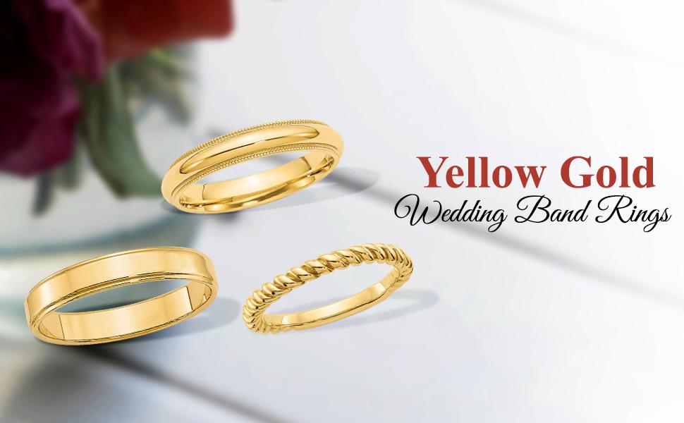 Yellow Gold Wedding Band Rings