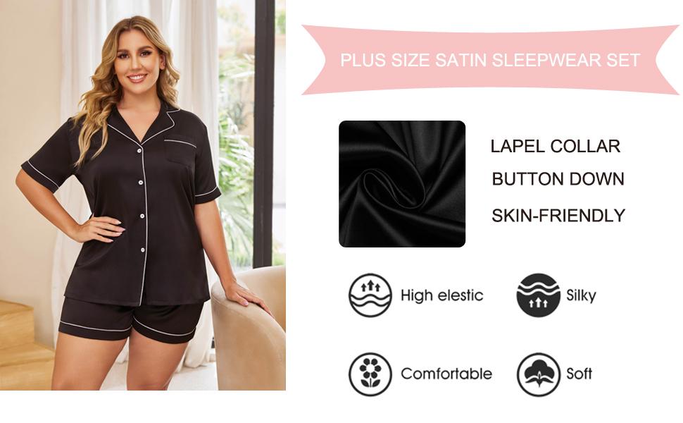 button down pajama set plus size
